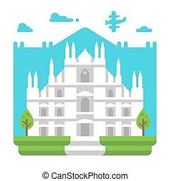Flat design Milano Duomo illustration vector