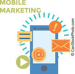 Flat design Mobile Marketing Icon. Vector