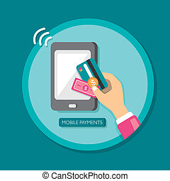 flat design smartphone with processing of mobile payments