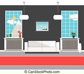 Flat design modern interior hall of the Institute - design...