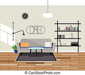 Flat design modern Interior living room