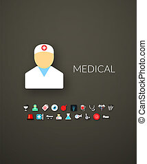 Flat design modern of brand identity style, web and mobile design, design element objects and collection for company branding, vector illustration icons set 19 - medical collection