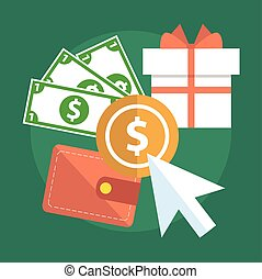 Flat design modern vector illustration concept of pay per click internet advertising model when the ad is clicked. Isolated on stylish background