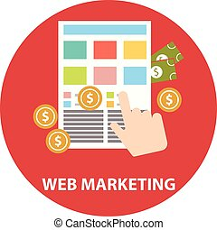 Flat design modern vector illustration concept of web marketing internet advertising model when the ad is clicked.