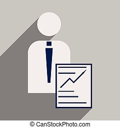 Flat design modern vector illustration icon businessman business papers