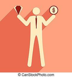 Flat design modern vector illustration icon businessman dollar and diamond