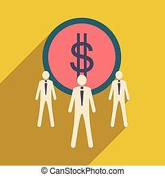 Flat design modern vector illustration icon Dollar and...