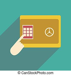 Flat design modern vector illustration icon safe PIN hand