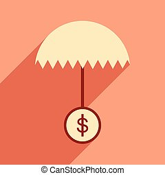 Flat design modern vector illustration icon umbrella dollar