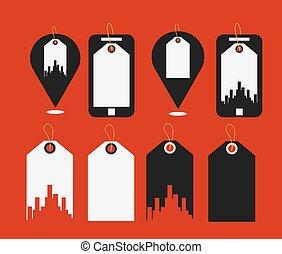 Flat design modern vector illustration icons of uban shopping
