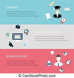 Flat design modern vector illustration icons set of distance learning and online courses, business school