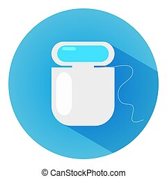Flat design modern vector illustration of dental floss icon with long shadow.
