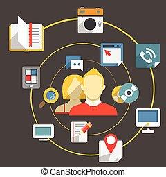 Flat design modern web media network concept