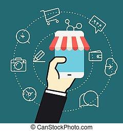Flat design modern web shopping concept