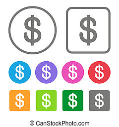 Flat Design Money Icon Color Set. Vector