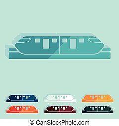 Flat design. monorail train