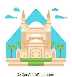 Flat design Mosque of Muhammad Ali illustration vector