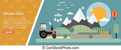 Flat Design mountain and farm meadow Landscape and Tractor. Flat and solid vector illustration.