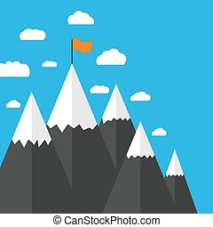 Flat design mountain peak
