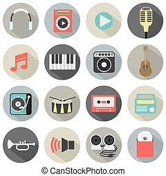 Flat Design Musical Icons.