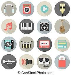 Flat Design Musical Icons.