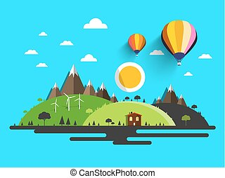 Flat Design Nature. Abstract Vector Natural Scene.