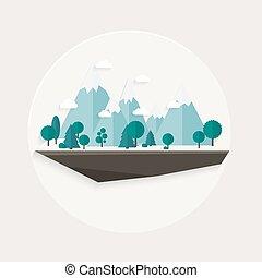 Flat design nature landscape illustration,
