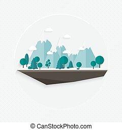 Flat design nature landscape illustration, Vector mountain