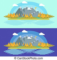 Flat design nature landscape illustration with Mountains, hills and clouds.