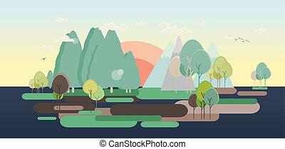 Flat design nature landscape