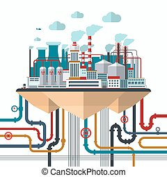 Flat design concept of nature pollution. Industrial landscape with factory buildings, smoking pipes, wires, constructions, communications. Vector illustration