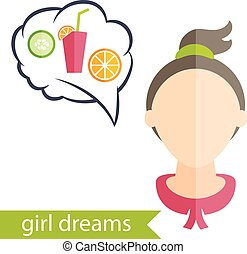 Flat design of a girl with hairstyle and icons of various women's accessories. Vector illustration