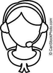Flat design of a girl with headset .Vector illustration