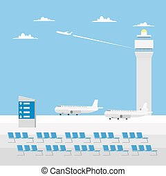 Flat design of airport with nice sky
