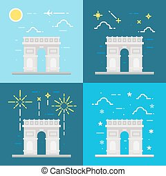 Flat design of Arc de Triomphe France