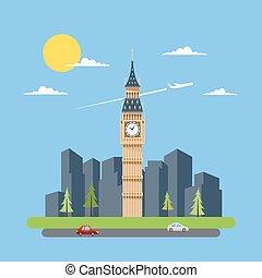 Flat design of Big Ben