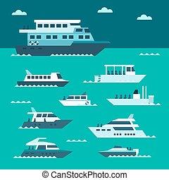 Flat design of boat set