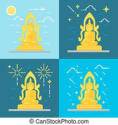 Flat design of Buddha Thailand