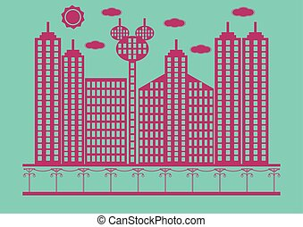 Flat design of building in cityscape. Vector illustration.