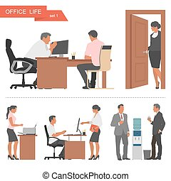 Flat design of business people and office workers. Vector illustration isolated on white background.