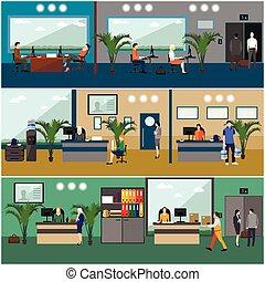 Flat design of business people or office workers. Company reception room. Office interior.