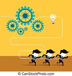 flat design of businessmen team work over yellow background