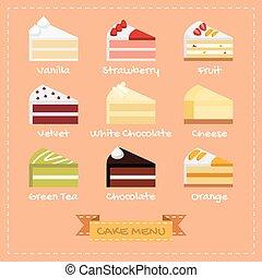 Flat design of cake menu