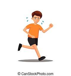 flat design of cartoon character of man is run