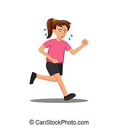 flat design of cartoon character of woman is run
