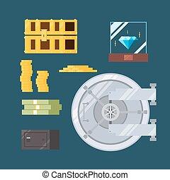 Flat design of cash and valuable safe illustration vector