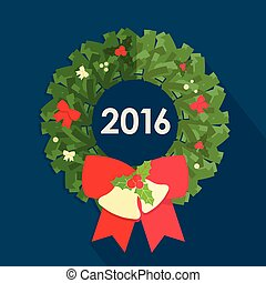 Flat design of  christmas wreath. Vector illustration