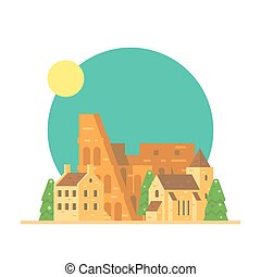 Flat design of Colloseum Italy with village