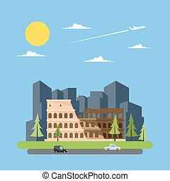 Flat design of coloseum Italy