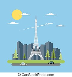 Flat design of Eiffel tower